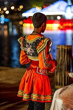 Traditional dress for Vesak, a festival to celebrate Buddha's birthday in Colombo, Sri Lanka, Asia