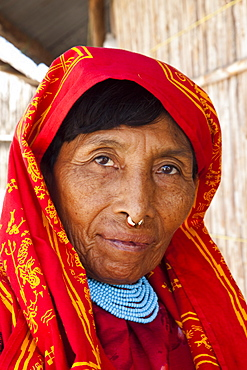 Kuna woman with gold nose ring, San Blas Islands, Panama, Central America