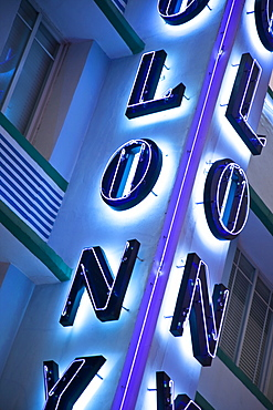 Colony Hotel neon sign, South Beach, Miami, Florida, United States of America, North America