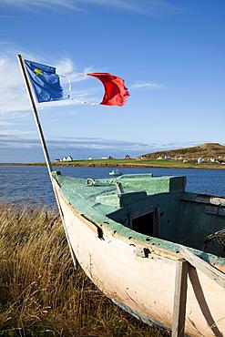 Boat on island in Gulf of St. Lawrence, Iles de la Madeleine (Magdalen Islands), Quebec, Canada, North America