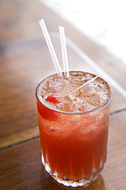 Classic rum punch sprinkled with nutmeg, Grenada, West Indies, Central America