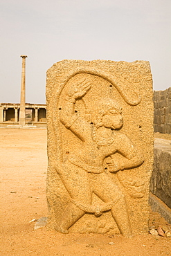 A bas relief tablet showing the Hindu monkey god Hanuman, Hampi, UNESCO World Heritage Site, Karnataka, India, Asia