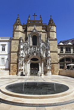 The Santa Cruz church, with Manueline facade, on the Praca 8 de Maio square, Coimbra, Beira Litoral, Portugal, Europe