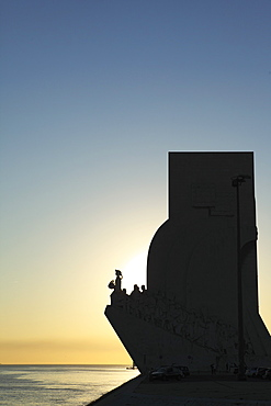 Sundown at the Monument to the Discoveries (Padrao dos Descobrimentos) by the River Tagus (Rio Tejo) in Belem, Lisbon, Portugal, Europe