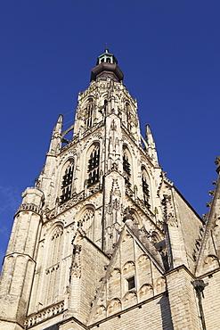 Spire of the Late Gothic Grote Kerk (Onze Lieve Vrouwe Kerk) (Church of Our Lady) in Breda, Noord-Brabant, Netherlands, Europe