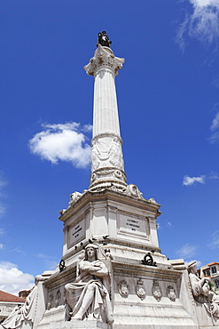 Portuguese King Dom Pedro IV monument, Dom Pedro IV Sqaure (Rossio Square), in the Baixa district, Lisbon, Portugal, Europe