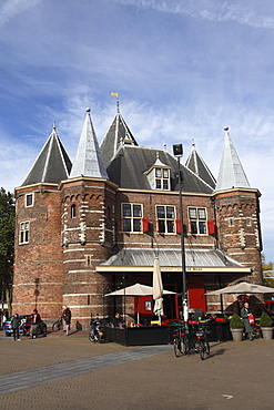 The Waag, a former weighing house, at the Nieuwmarkt (New Market), Red Light District, in Amsterdam, The Netherlands, Europe