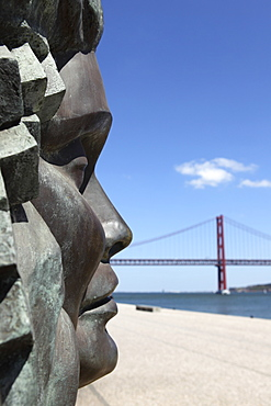 Memorial to Fado, Amalia Rodrigues and Lisbon, by the 25 April Bridge, Belem district, Lisbon, Portugal, Europe