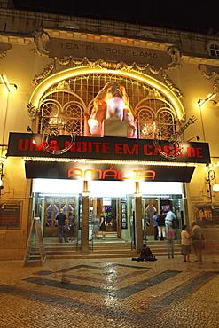 The Teatro Politeama at night, venue for a Fado show about Fado, in the Baixa district, Lisbon, Portugal, Europe