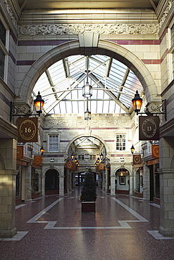 St. Michael's Row, a shopping arcade dating from 1910 by W. T. Lockwood, a Grade II listed building in Chester, Cheshire, England, United Kingdom, Europe