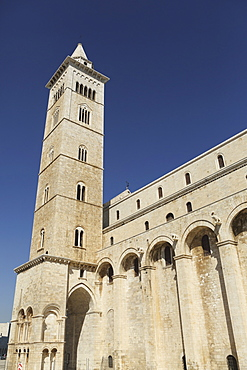 The 60m tall bell tower of the Cathedral of St. Nicholas the Pilgrim (San Nicola Pellegrino) in Trani, Apulia, Italy, Europe