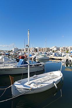 View of the boats, Marina, Santa Eulalia port, Ibiza, Balearic Islands, Spain, Mediterranean, Europe