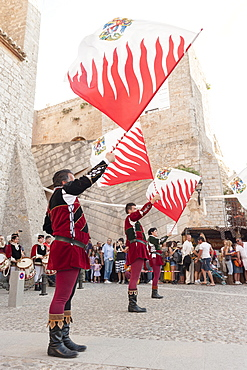 Flag bearers show, Ibiza cathedral, Medieval Party, Dalt Vila, Old Town, Ibiza, Balearic Islands, Spain, Mediterranean, Europe