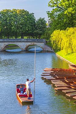 Punts, The Backs, Trinity College, Trinity Bridge over River Cam, Cambridge, Cambridgeshire, England, United Kingdom, Europe