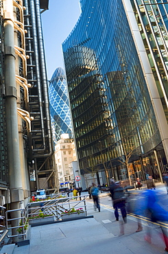 Lloyds Building on the left, with The Gherkin (30 St. Mary Axe) in the background, City of London, London, England, United Kingdom, Europe