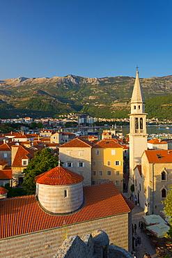 Church of the Holy Trinity (Crkva Sv. Trojice) on left, and Sveti Ivan (Church of St. John), Old Town (Stari Grad), Budva, Montenegro, Europe