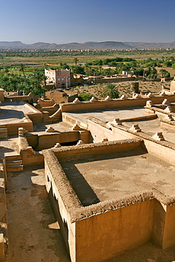 View out of a window of the Kasbah Taourirt in Ouarzazate, Morocco