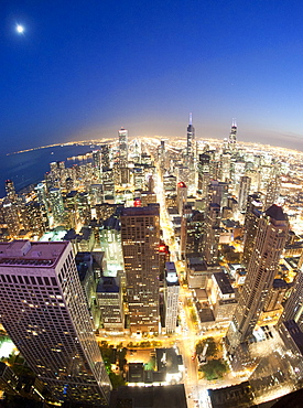 Night-time view over Chicago from the observation deck of the 100-storey John Hancock Tower in Chicago, Illinois, United States of America, North America