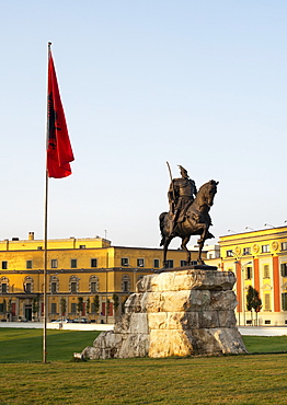The Skanderbeg Monument in Skanderbeg Square in Tirana, capital of Albania, Europe