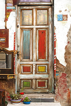 A colourful wooden door in a side street in Sarajevo, capital of Bosnia and Herzegovina, Europe