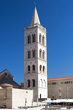 The bell tower of the Cathedral of St. Anastasia, Zadar, Adriatic coast, Croatia, Europe