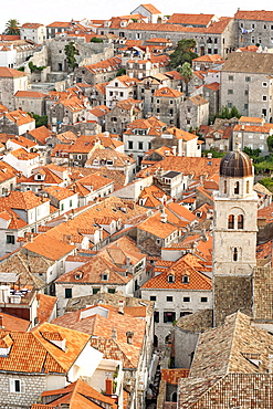 View over the rooftops of the old town in the city of Dubrovnik, UNESCO World Heritage Site, with Lokrum Island beyond, Adriatic Coast, Croatia, Europe
