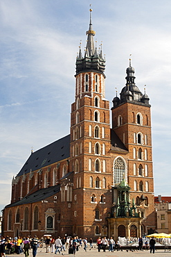 St. Mary's Basilica in Rynek Glowny, the town square in Krakow in southern Poland, Europe