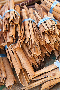 Cinnamon for sale at the market in the village of St. Paul on the French island of Reunion in the Indian Ocean, Africa