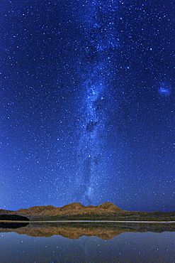 Night view of Steenbras Dam and the Milky Way in the Western Cape Province of South Africa, Africa