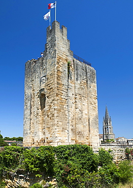 Bell tower of the Monolithic Church in St.-Emilion village in the Aquitaine region of southwestern France, Europe