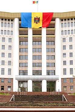 The Moldovan flag draped over the Moldovan Parliament building in Chisinau, the capital of Moldova, Europe