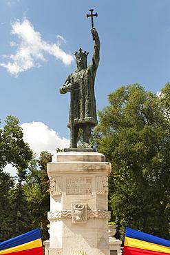 Statue of St. Stephen III of Moldavia (Stefan the Great) in Chisinau, the capital of Moldova, Europe