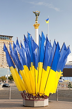 Ukrainian flags and Independence column in Independence Square (Maidan Nezalezhnosti) in Kiev, the capital of Ukraine, Europe
