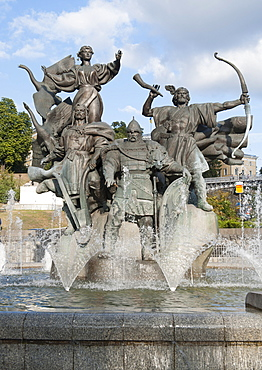 Statue of brothers, Kyi, Shchek and Khoryv, and sister Lybid, who founded Kiev, in Independence Square in Kiev, capital of Ukraine, Europe