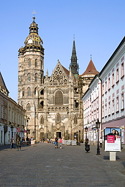 Church and small street in the historic town of Kosice in eastern Slovakia.