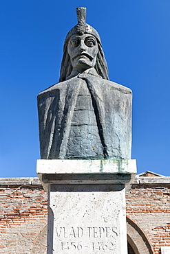 Bust of Vlad Tepes (Vlad III) (Dracula) a 15th century ruler of Wallachia, Bucharest, Romania, Europe