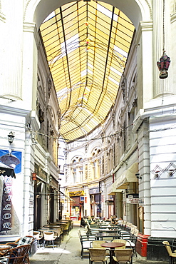 Macca-Vilacrosse passage, a fork-shaped, covered pedestrian arcade street in Bucharest, Romania, Europe