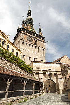 The Clock Tower in the Sighisoara citadel in Sighisoara, UNESCO World Heritage Site, a town in the Transylvania region of central Romania, Europe