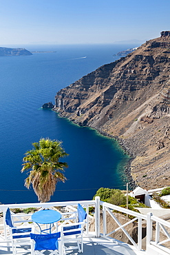 Terrace of a house at Imerovigli on the Greek island of Santorini, Cyclades, Greek Islands, Greece, Europe
