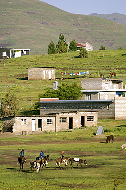 The village of Semonkong in Lesotho, Africa