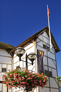 Shakespeare's Globe theatre on the south bank of the Thames river in London.
