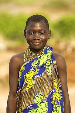 Portrait of Ugandan child in a village in Kabwoya wildlife reserve on the shores of Lake Albert in Uganda.