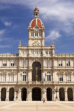 The Palacio Municipal and the Plaza de Maria Pita in the town of La Corun~a in Spain's Galicia region.