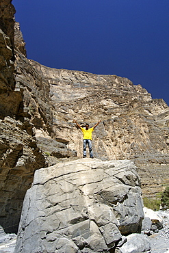 Scenery in Wadi Nakhr near Wadi Ghool in the Jebel Akhdar mountains of the sultanate of Oman.