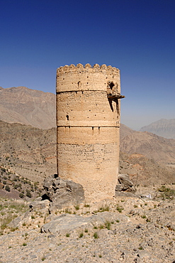 The remains of the lookout tower in the village of Hadash in the mountains of Jebel Akhdar in Oman.