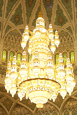 Chandelier inside the prayer area of the Sultan Qaboos Grand Mosque in Muscat, Oman.