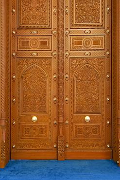 Doors in the Sultan Qaboos Grand Mosque in Muscat, Oman.