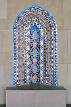 Detail of mosaic in an alcove in the Sultan Qaboos Grand Mosque in Muscat, Oman.
