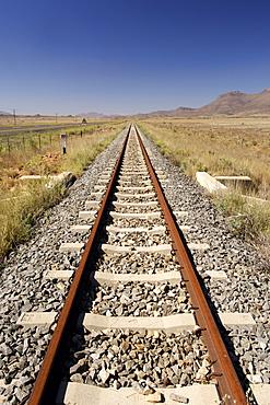 Railway line between Graaf Reinet and Middelburg in the Karoo region of South Africa's Eastern Cape Province.