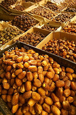Assorted dates for sale in a market stall in Morocco